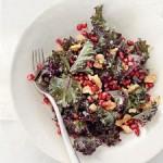 Salad : Raw Kale w. Pomegranate & Toasted Walnuts