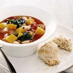 Soup : Squash and White Bean with Parmesan Crisps